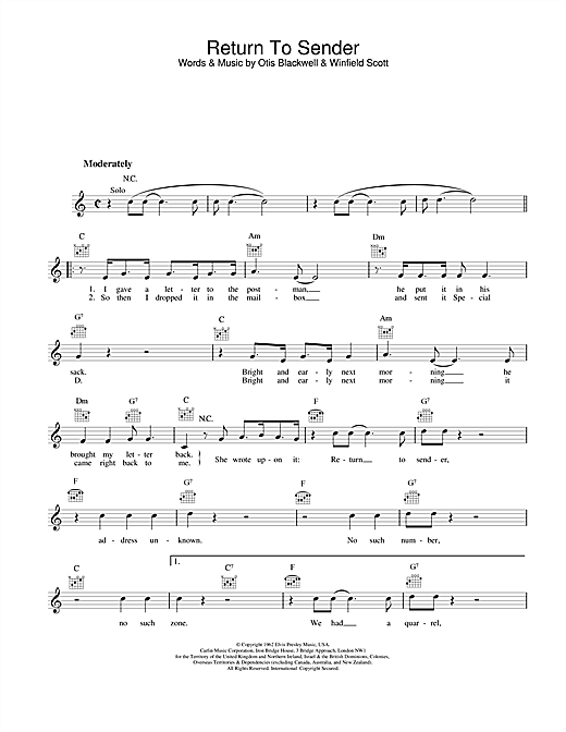 Return To Sender Sheet Music