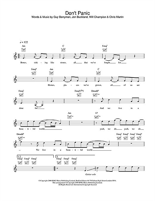 Don\'t Panic chords by Coldplay (Melody Line, Lyrics & Chords – 25163)