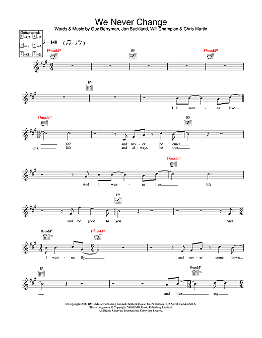 We Never Change (Lead Sheet / Fake Book)