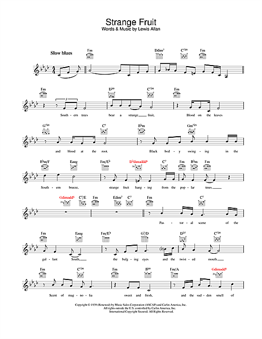 Strange Fruit Sheet Music