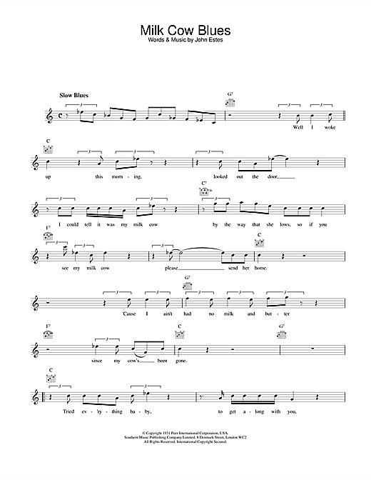 Milk Cow Blues (Lead Sheet / Fake Book)