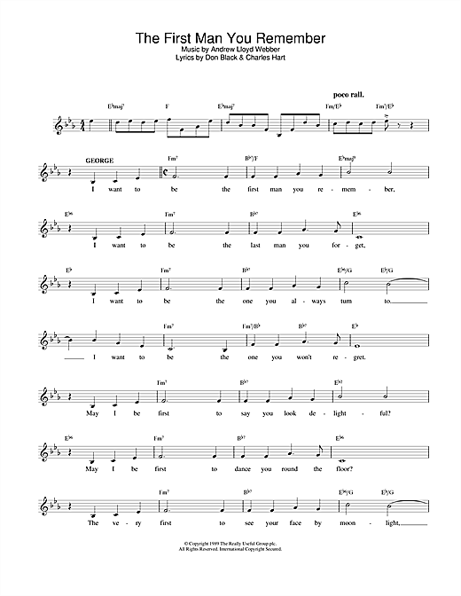 The First Man You Remember (from Aspects Of Love) (Lead Sheet / Fake Book)