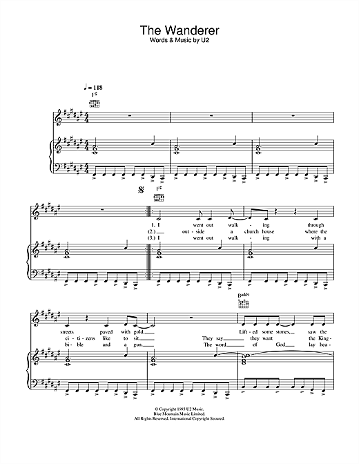 The Wanderer Sheet Music