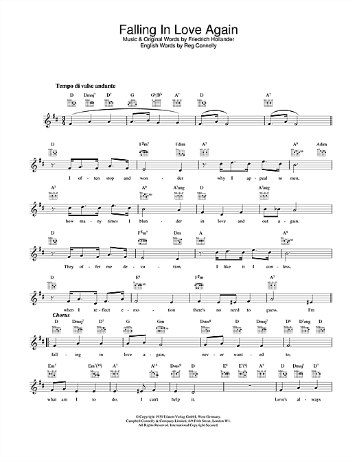 Falling In Love Again Sheet Music