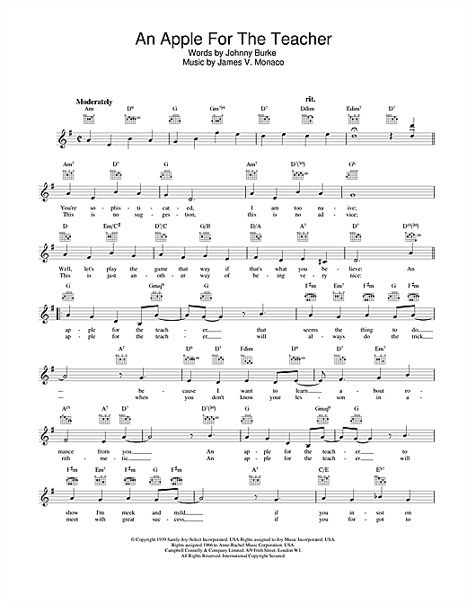 An Apple For The Teacher (Lead Sheet / Fake Book)