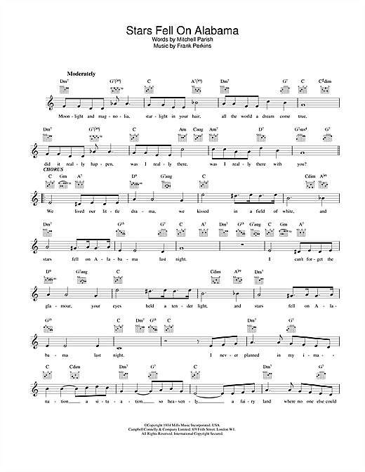 Stars Fell On Alabama chords by Louis Armstrong (Melody Line, Lyrics ...