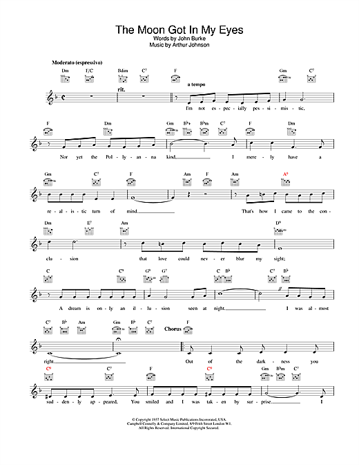 The Moon Got In My Eyes (Lead Sheet / Fake Book)