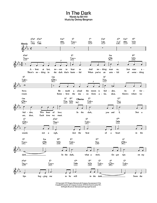 In The Dark (Lead Sheet / Fake Book)