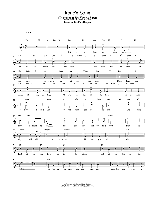 Irene's Song (theme from The Forsyte Saga) (Lead Sheet / Fake Book)