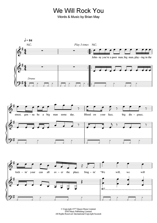 We Will Rock You sheet music by Robbie Williams (Piano, Vocal u0026 Guitar (Right-Hand Melody) u2013 25573)