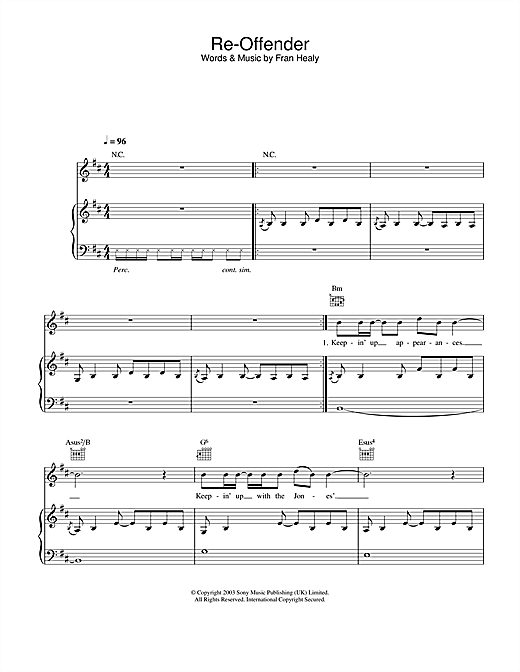 Re-Offender Sheet Music