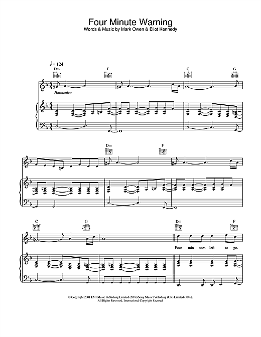 Partition piano Four Minute Warning de Mark Owen - Piano Voix Guitare