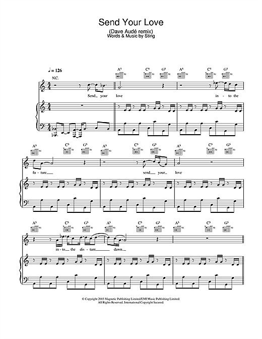 Send Your Love (Dave Audé remix) Sheet Music