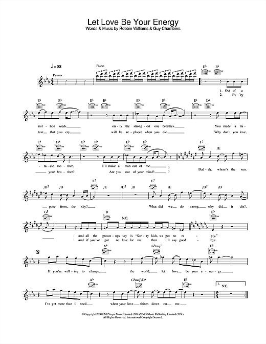 Let Love Be Your Energy (Lead Sheet / Fake Book)