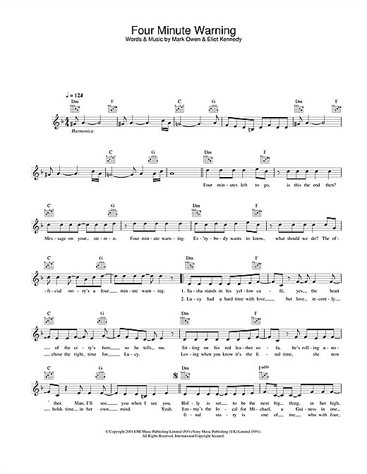 Four Minute Warning Sheet Music