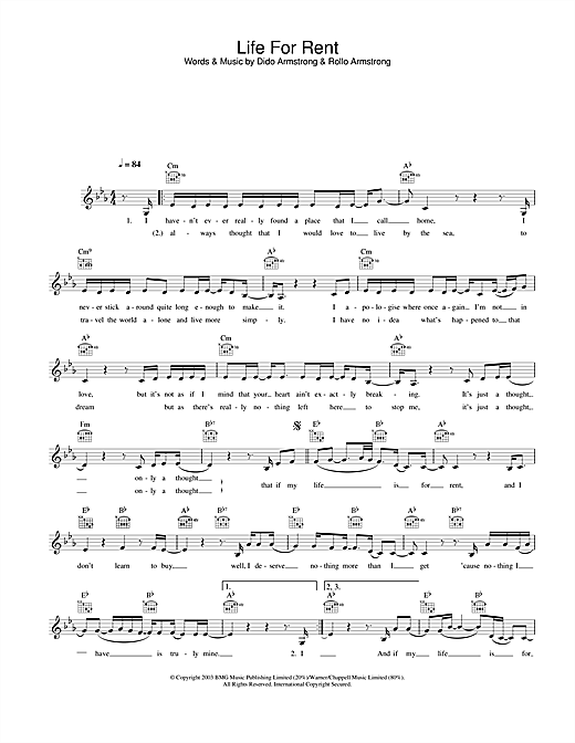Life For Rent (Lead Sheet / Fake Book)