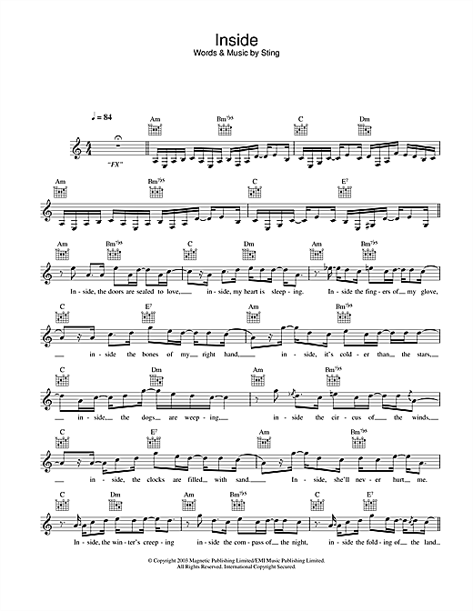Inside (Lead Sheet / Fake Book)