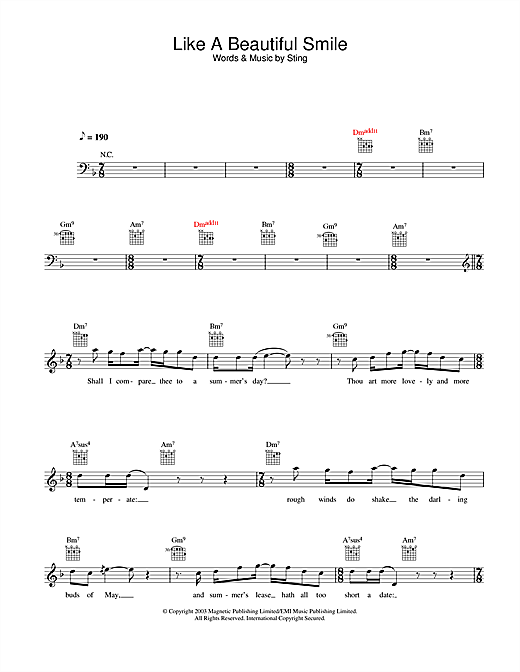 Like A Beautiful Smile (Lead Sheet / Fake Book)
