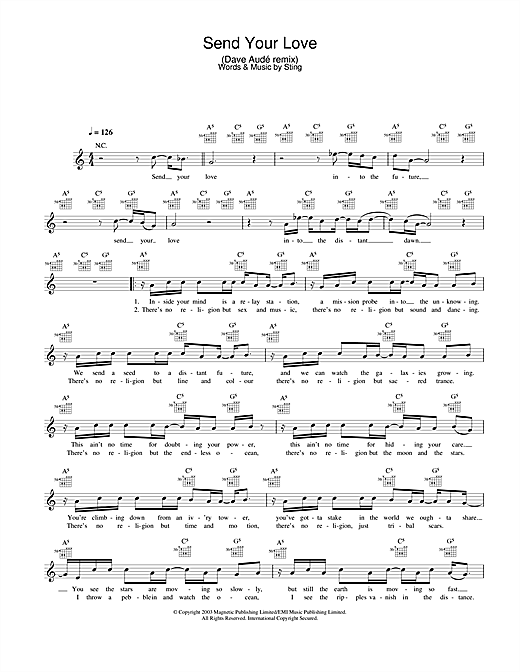 Send Your Love (Dave Audé remix) (Lead Sheet / Fake Book)