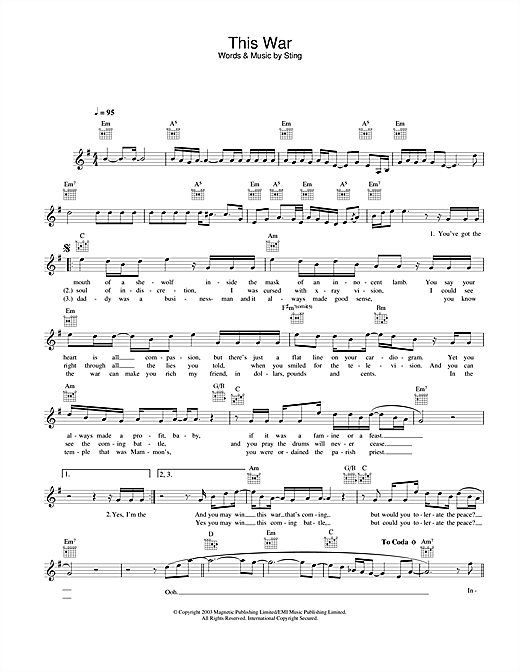 This War Sheet Music