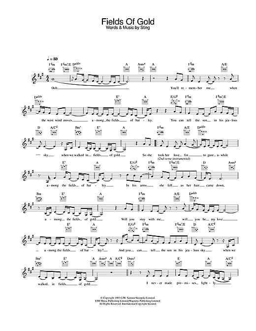 Fields Of Gold (Lead Sheet / Fake Book)