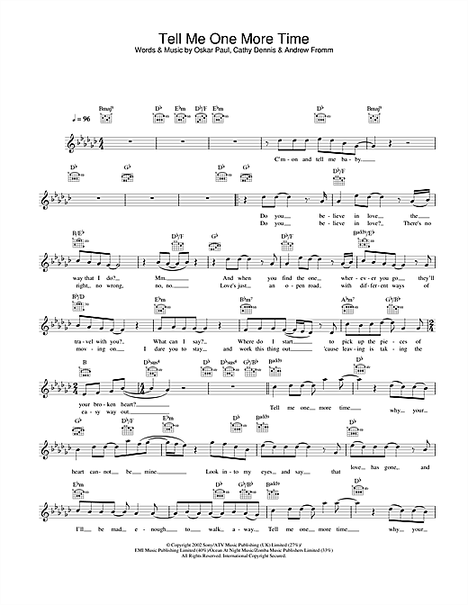 Tell Me One More Time (Lead Sheet / Fake Book)