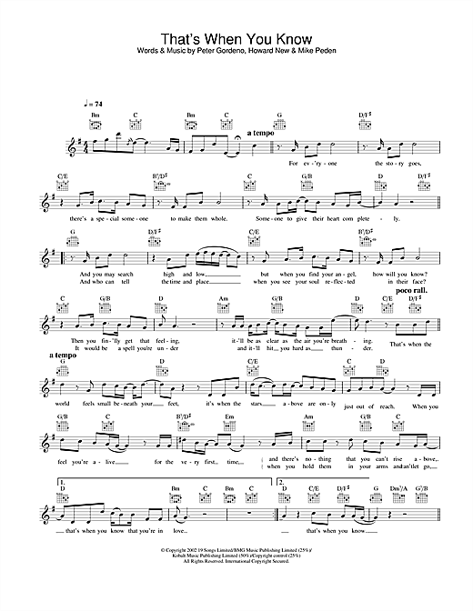 That's When You Know (Lead Sheet / Fake Book)