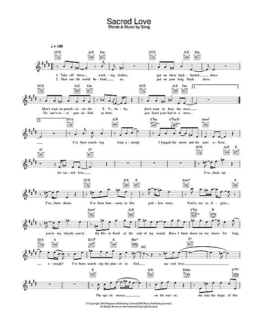 Sacred Love Sheet Music