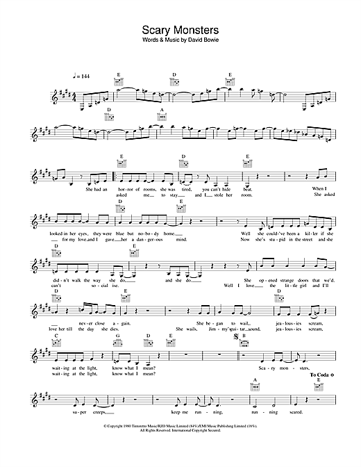 Scary Monsters (Lead Sheet / Fake Book)