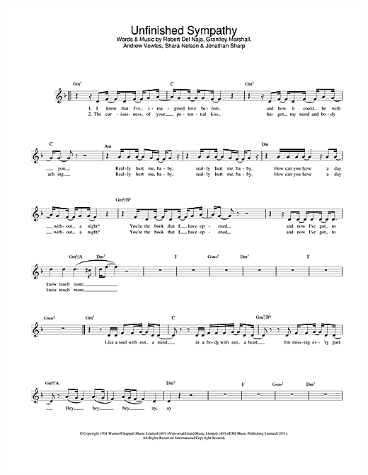 Unfinished Sympathy (Lead Sheet / Fake Book)