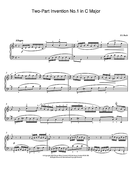 Partition piano Two-Part Invention No.1 in C Major de Johann Sebastian Bach - Piano Solo