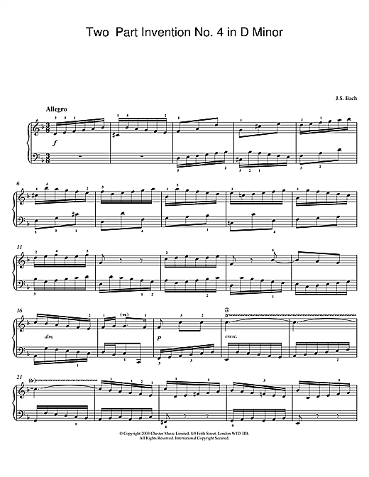Partition piano Two-Part Invention No. 4 in D Minor de Johann Sebastian Bach - Piano Solo