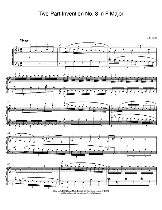 Two-Part Invention No. 8 in F Major (Piano Solo)