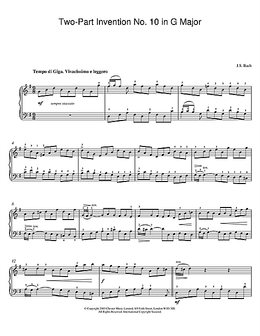Partition piano Two-Part Invention No. 10 in G Major de Johann Sebastian Bach - Piano Solo