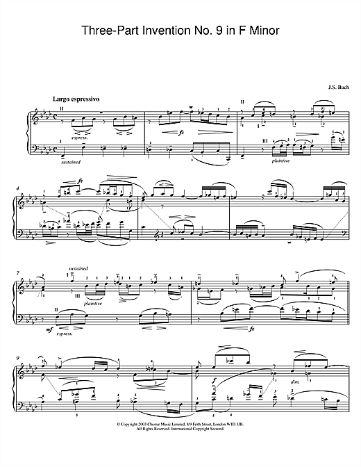 Partition piano Three-Part Invention No. 9 in F Minor de Johann Sebastian Bach - Piano Solo