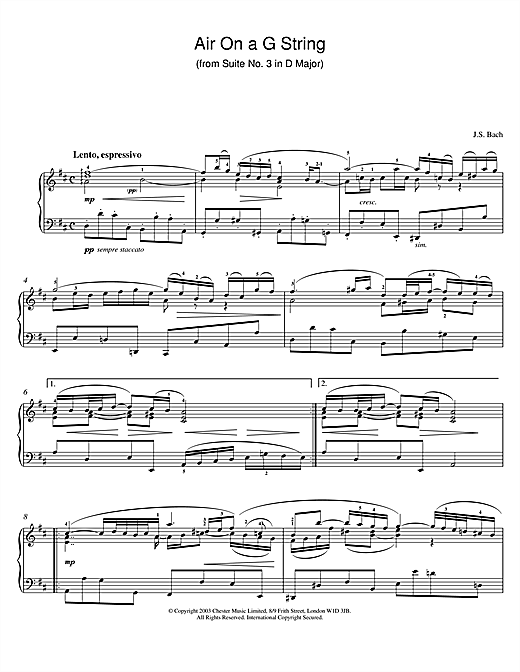 Partition piano Air On The G String (from Suite No.3 in D Major) de Johann Sebastian Bach - Piano Solo