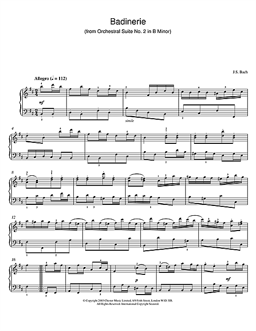 Badinerie (from Orchestral Suite No. 2 in B Minor) Sheet Music