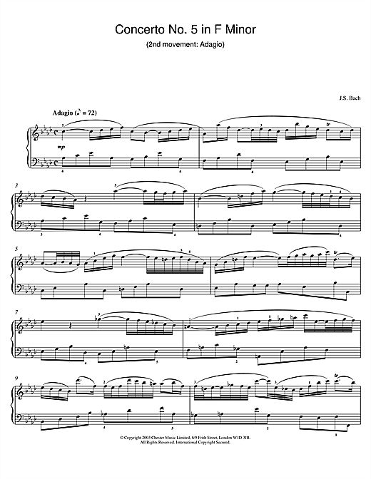 Piano Concerto No. 5 in F Minor (2nd movement: Adagio) Sheet Music
