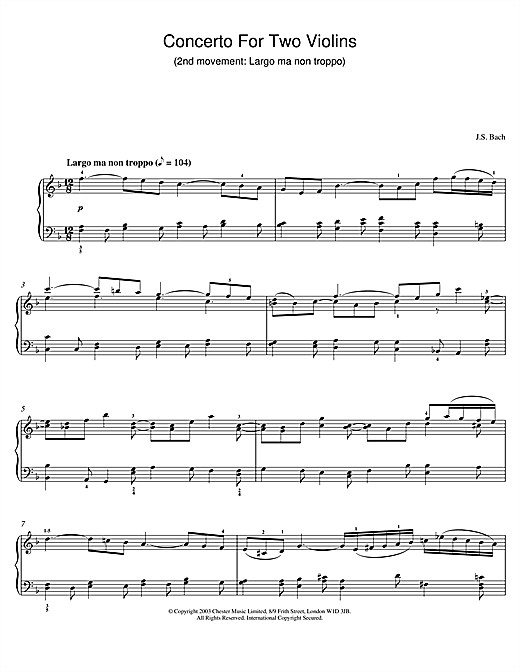 Concerto For Two Violins (2nd movement: Largo ma non troppo) Sheet Music
