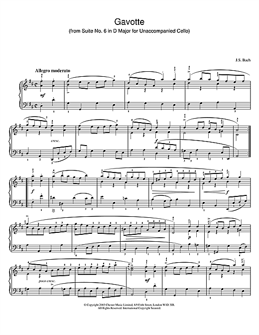 Partition piano Gavotte (from Suite No. 6 in D Major for Unaccompanied Cello) de Johann Sebastian Bach - Piano Solo