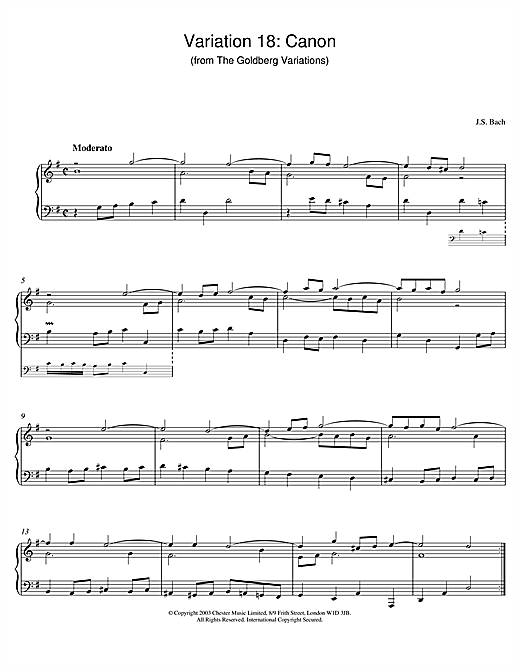 Variation 18: Canon (from The Goldberg Variations) (Piano Solo)