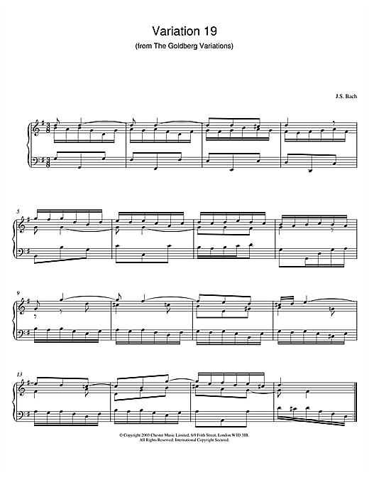 Partition piano Variation 19 (from The Goldberg Variations) de Johann Sebastian Bach - Piano Solo