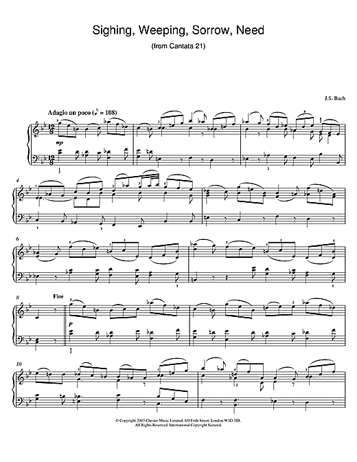 Partition piano Sighing, Weeping, Sorrow, Need (from Cantata 21) de Johann Sebastian Bach - Piano Solo