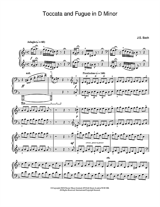 Partition piano Toccata and Fugue in D Minor de Johann Sebastian Bach - Piano Solo