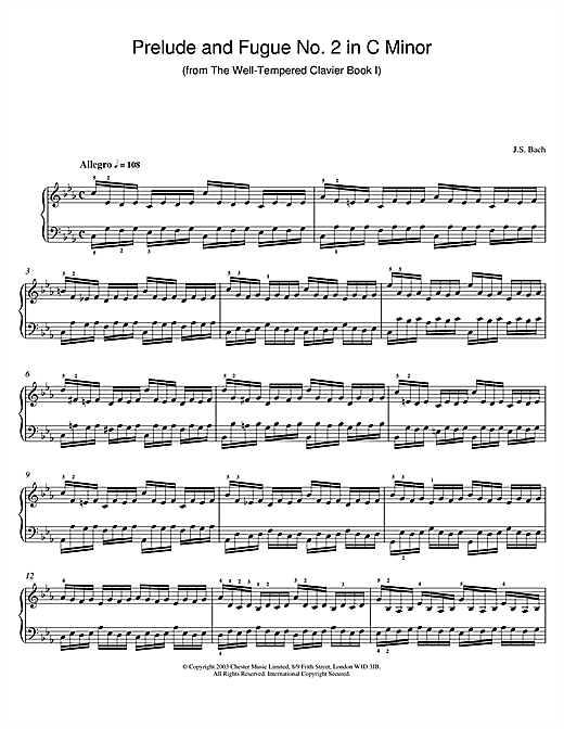 Partition piano Prelude and Fugue No.2 in C Minor (from The Well-Tempered Clavier, Bk.1) de Johann Sebastian Bach - Piano Solo