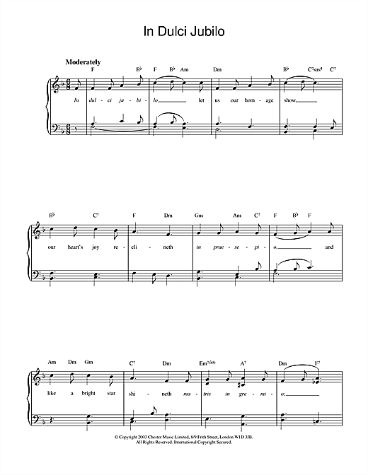 In Dulci Jubilo Sheet Music