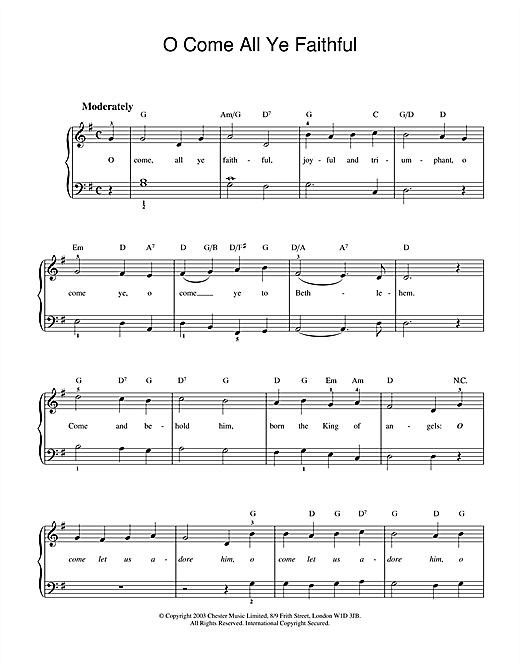 O Come, All Ye Faithful (Adeste Fideles) Sheet Music