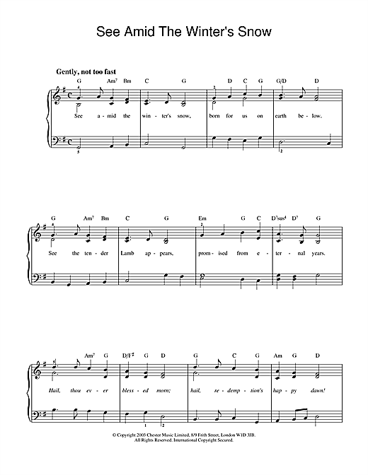 Partition piano See Amid The Winter's Snow de Christmas Carol - Piano Solo