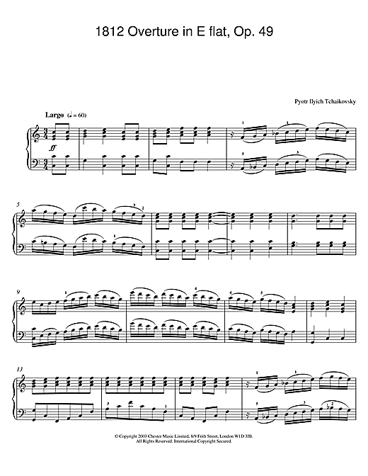 1812 Overture in E flat, Op. 49 Sheet Music