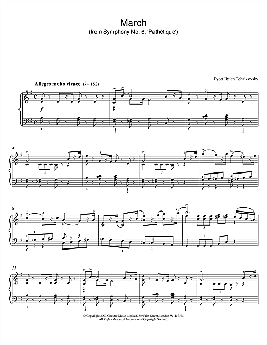 March (from Symphony No. 6, 'Pathétique') Sheet Music